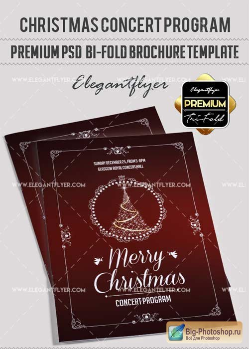 Christmas concert program V1 Premium Bi-Fold PSD Brochure Template