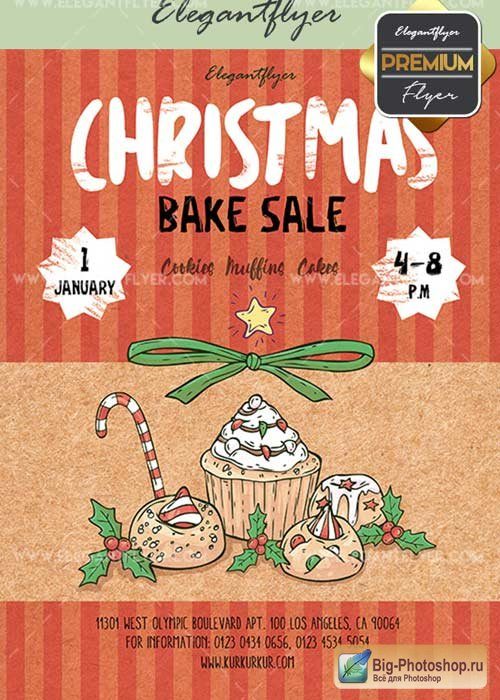 Christmas Bake Sale V22 Flyer PSD Template + Facebook Cover