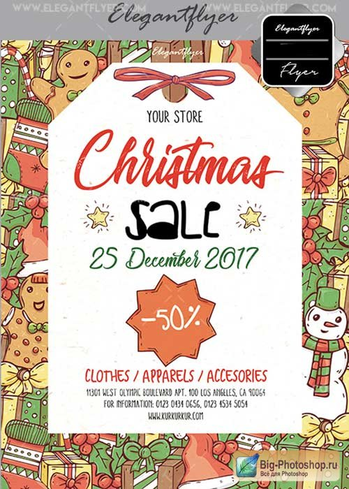 Christmas Sale V49 2017 Flyer PSD Template + Facebook Cover