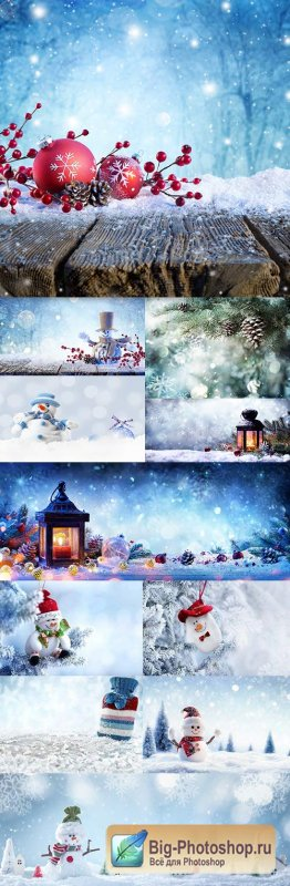 Christmas decorative composition snowman and snowflakes