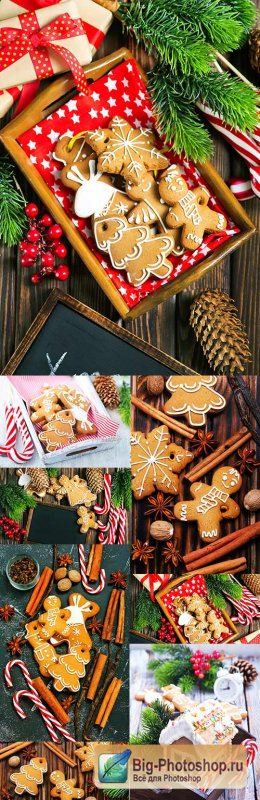 Christmas dessert gingerbread and decorative accessories