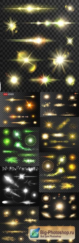 Light effects golden sparkling elements dark background 8