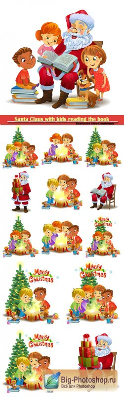 Santa Claus with kids reading the book vector illustration