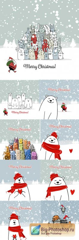 Merry Christmas polar bear and amusing cats
