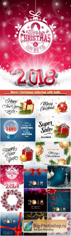 Merry Christmas lettering with balls design vector template