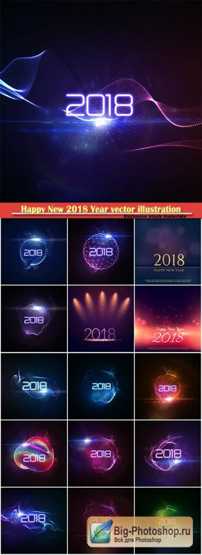 Happy New 2018 Year vector holiday illustration of glowing neon 2018 sign with shiny abstract wave and sparkles