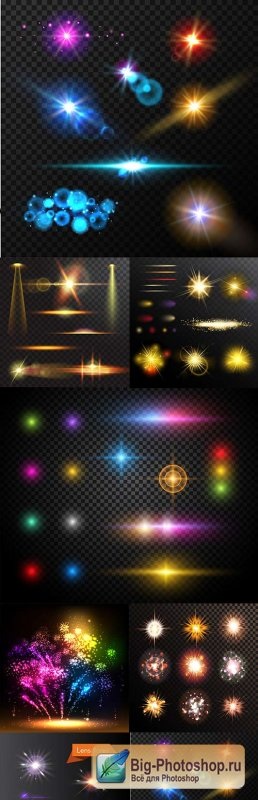 Bright lighting effects collection of design 13