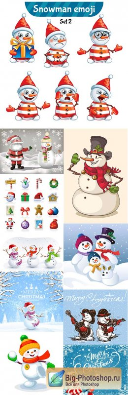 Christmas cheerful snowman cartoon an illustration