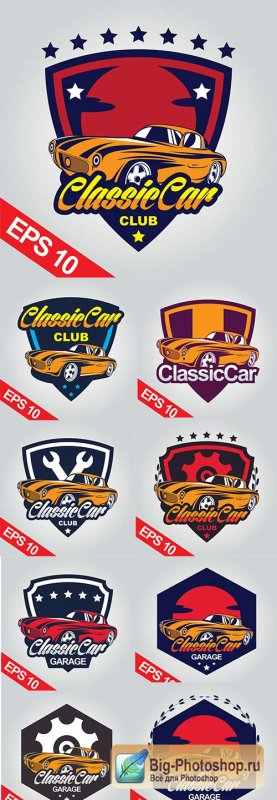 Classic car emblem design collection illustration