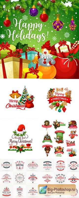 Happy Christmas holiday vintage design elements