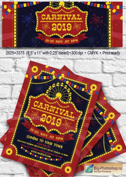 Carnival V25 2017 Flyer PSD Template + Facebook Cover