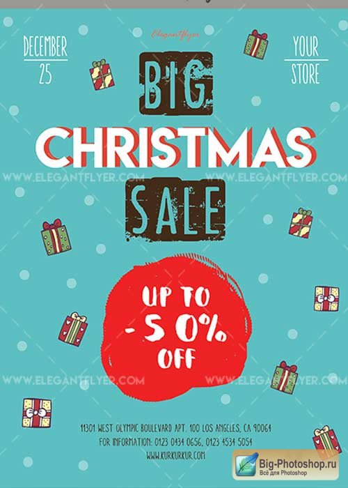 Big Christmas Sale V19 2017 Flyer PSD Template + Facebook Cover