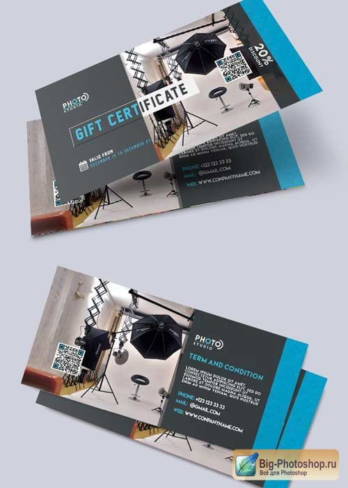Photo Studio V7 Premium Gift Certificate PSD Template