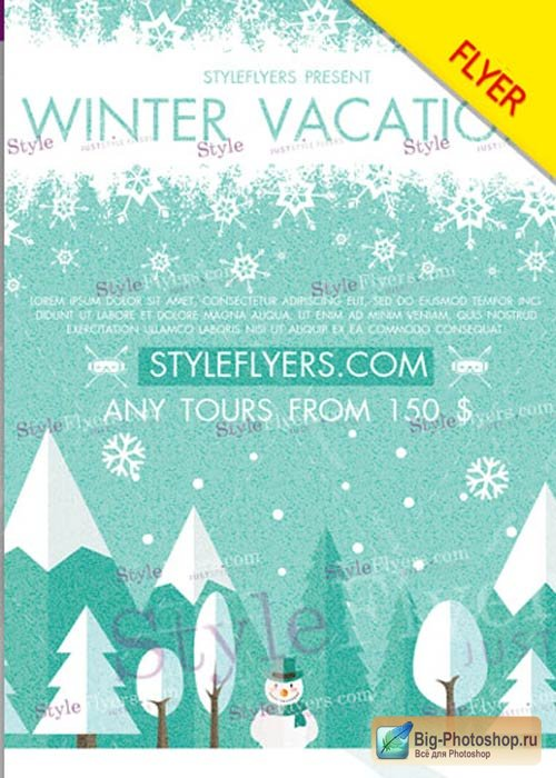 Winter Vacation V12 Flyer PSD Template