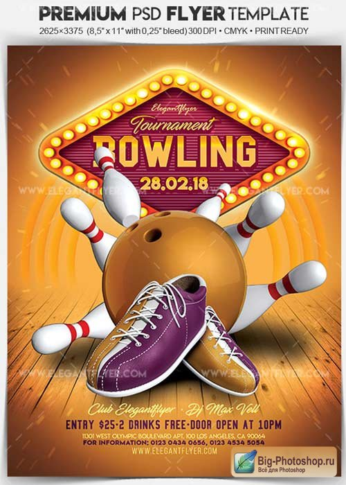 Bowling Tournament V20 Flyer PSD Template + Facebook Cover