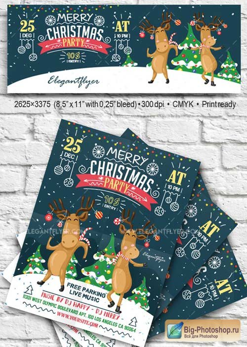 Christmas Party V14 2017 Flyer PSD Template + Facebook Cover