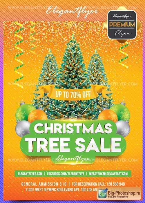 Christmas Tree Sale V1 2017 Flyer PSD Template + Facebook Cover