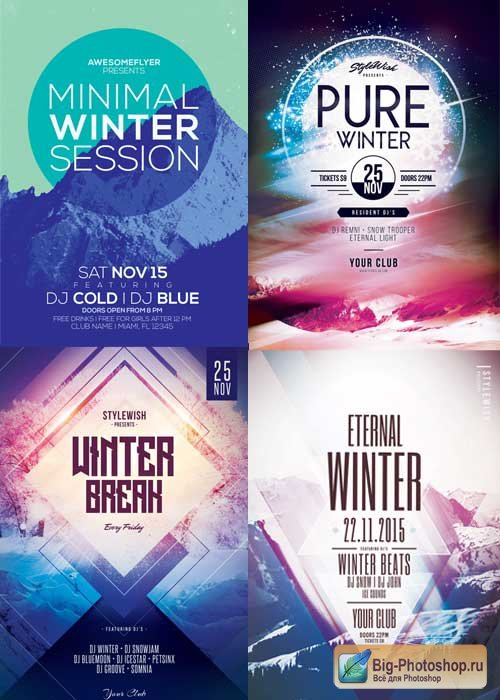 Minimal Winter Party 4in1 V1 2017 Flyer Template