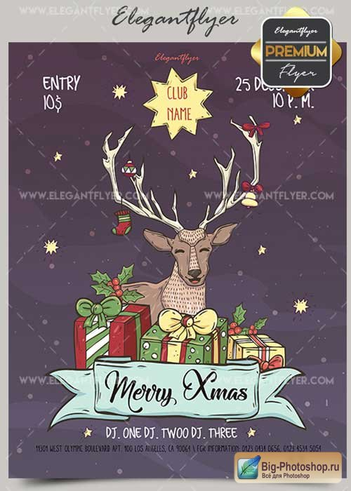 Merry Xmas V55 2017 Flyer PSD Template + Facebook Cover