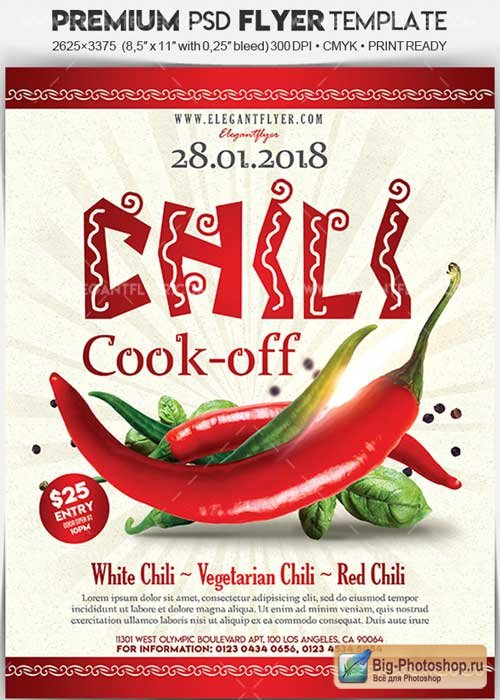 Chili Cook-off V1 2018 Flyer PSD Template + Facebook Cover