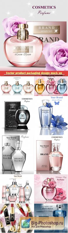 Vector product packaging design mock up, perfume bottle, brand label