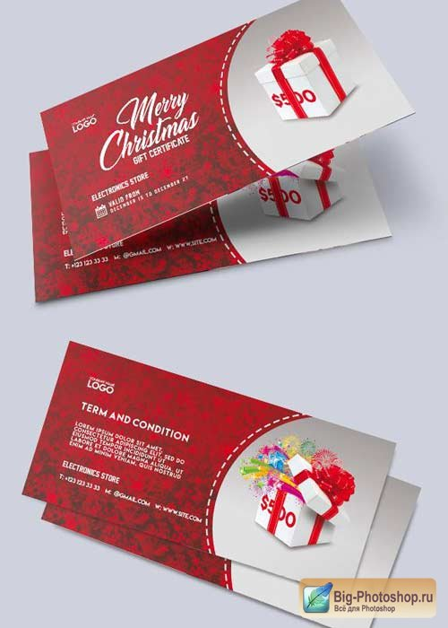 Electronics Store V1 Premium Gift Certificate PSD Template