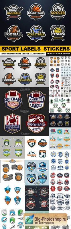 Sport Labels Stickers - 25 Vector