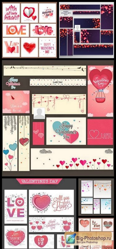 Valentines Day Banners Card - 6 Vector