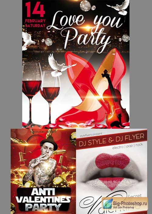 Valentines Day 3in1 V3 2018 Flyer Template