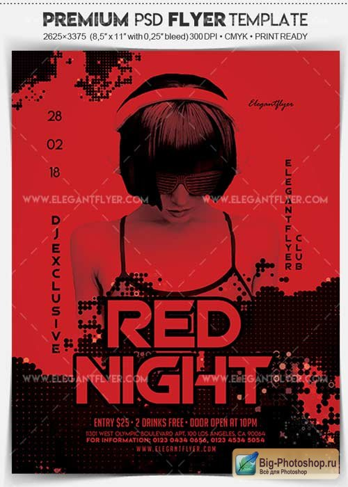 Red Night V1 2018 Flyer PSD Template + Facebook Cover