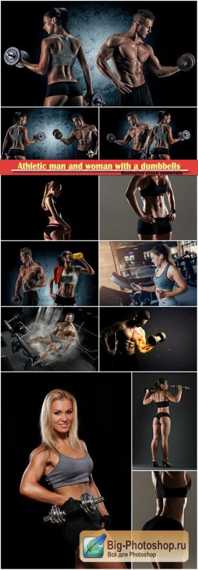 Athletic man and woman with a dumbbells, concept of health and sport