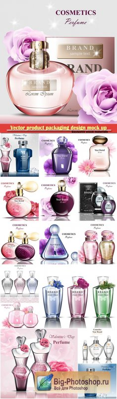 Realistic vector product packaging design mock up, perfume bottle