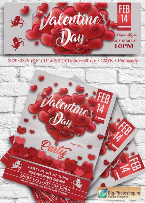 Valentine`s Day Party V10 2018 Flyer PSD Template + Facebook Cover
