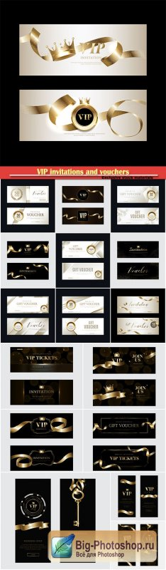 VIP invitations and vouchers with gold decor elements
