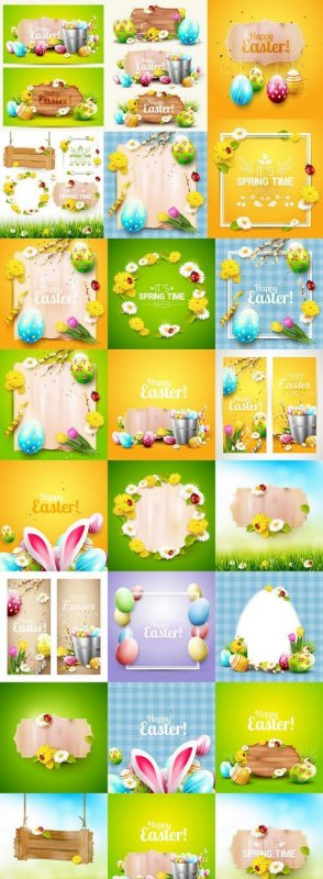 Happy Easter Bright Backgrounds - 25 Vector