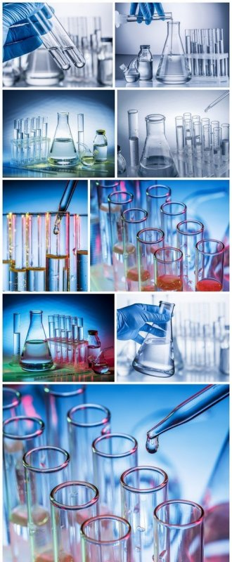 Different laboratory beakers and glassware 9X JPEG