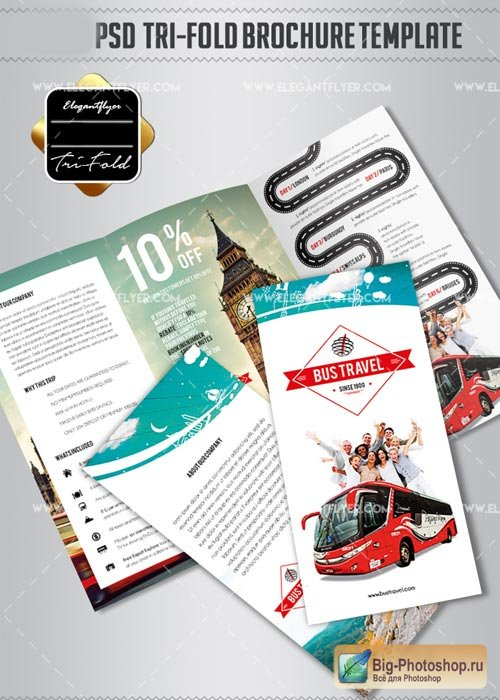 Bus Travel V1 2018 Tri-Fold PSD Brochure Template