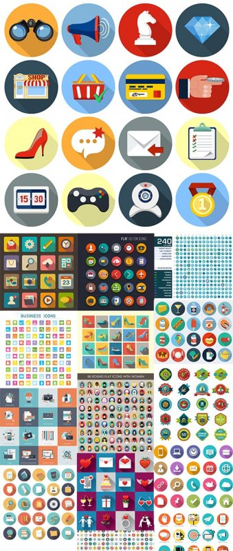 Flat Icons 2 - Design Vector Collection 25xEPS