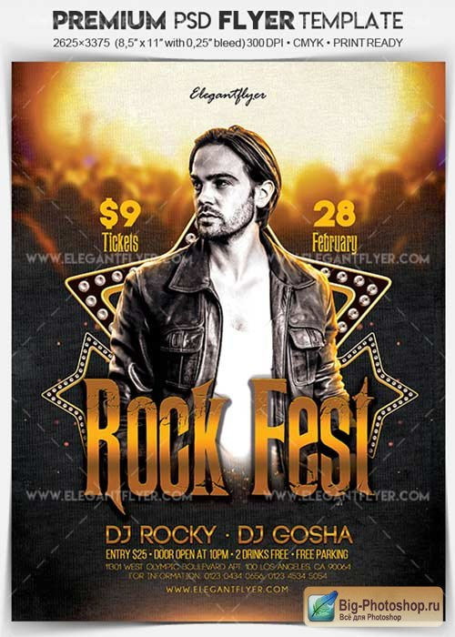 Rock Fest V1 2017 Flyer PSD Template + Facebook Cover