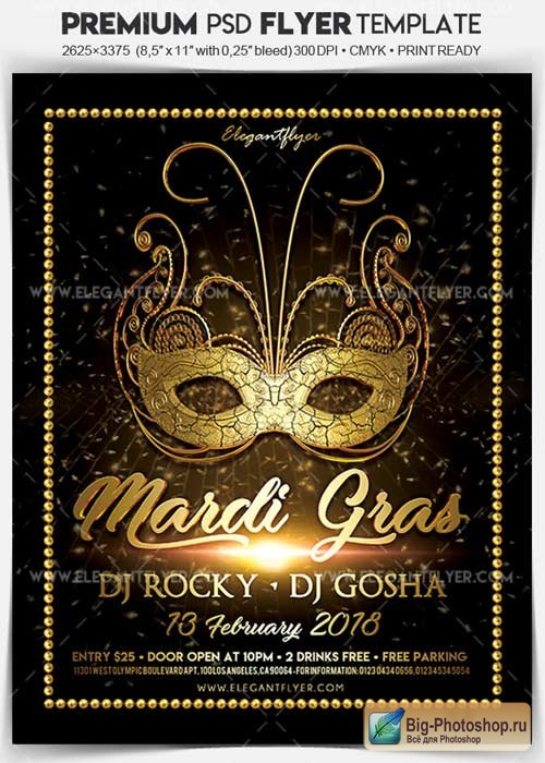 Mardi Gras Party V10 2018 Flyer PSD Template + Facebook Cover