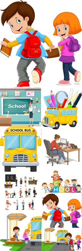 Back to school collection accessories element illustration 8