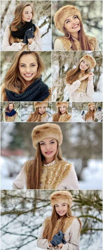 Beautiful pretty girl in winter clothes 10X JPEG
