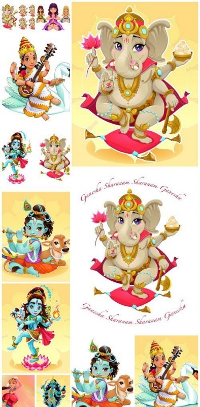 Cartoon representation of eastern god Ganesha 12X EPS