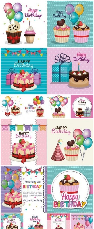 Happy birthday party invitation with sweet cupcake 16X EPS