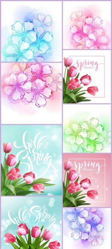 Decorative watercolor spring flower 9X EPS