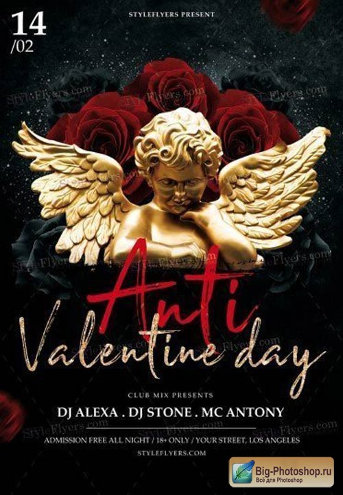 Anti Valentine Day V1 2018 PSD Flyer Template