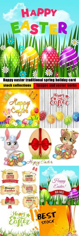 Happy easter traditional spring holiday card
