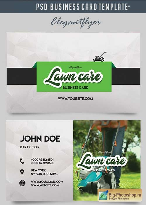 Lawn Care V1 2018 Business Card Templates PSD