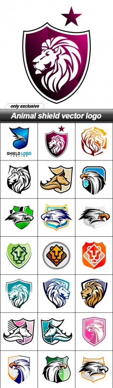 Animal shield vector logo - 24 EPS