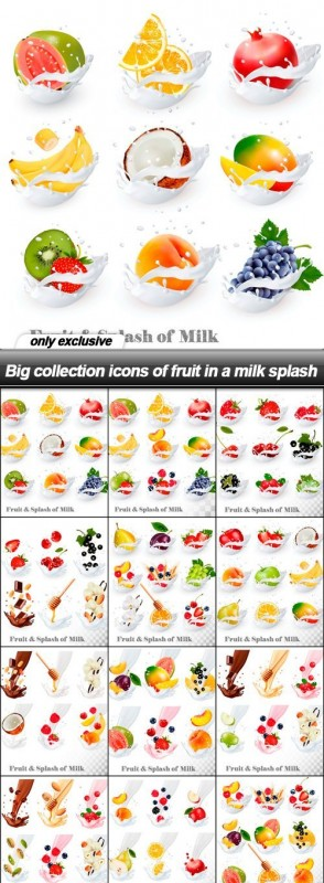 Big collection icons of fruit in a milk splash - 12 EPS